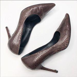 Gucci Chocolate Brown Snakeskin Python Pumps